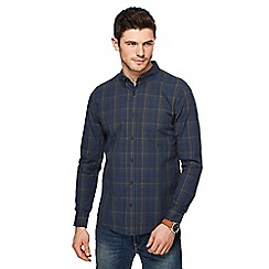 Red Herring - Navy and khaki checked slim fit shirt