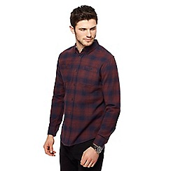 Red Herring - Wine red ombre check long sleeve shirt