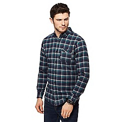 Red Herring - Big and tall navy check print long sleeve shirt