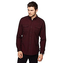 Red Herring - Wine red brushed cotton military long sleeve shirt