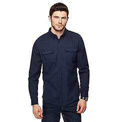 Red Herring - Navy brushed cotton military long sleeve shirt