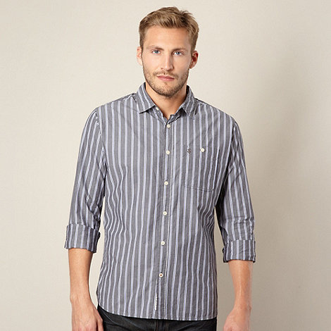 St George by Duffer - Grey contrast vertical striped shirt
