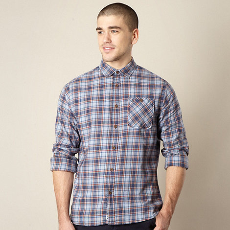 St George by Duffer - Blue two tone checked shirt
