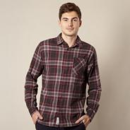 Wine woven checked shirt