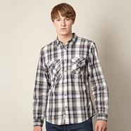 Grey checked two pocket shirt