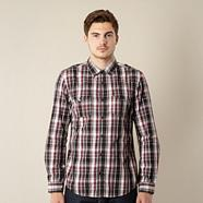 Dark red checked two pocket shirt