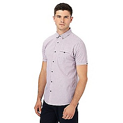Red Herring - Big and tall purple gingham print slim fit shirt