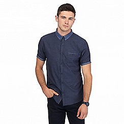 Red Herring - Big and tall navy textured collar shirt