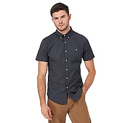 Red Herring - Navy Oxford print short sleeve shirt