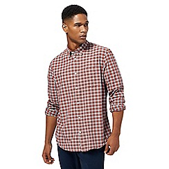 Red Herring - Big and tall dark red gingham print slim fit shirt