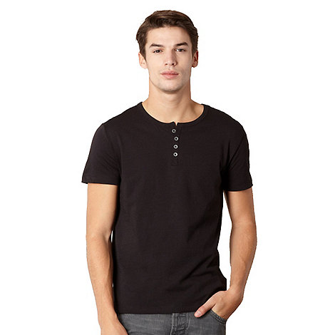 Red Herring - Black button neck t-shirt