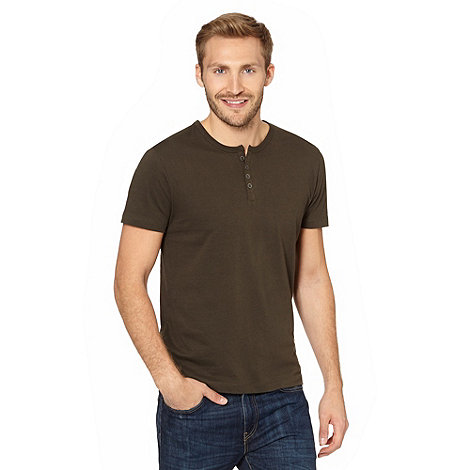 Red Herring - Khaki marled button neck t-shirt