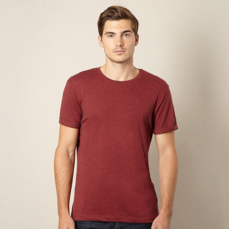 Red Herring - Dark red marled roll sleeve t-shirt