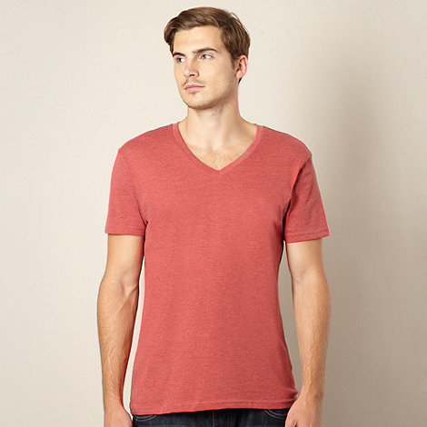 Red Herring - Red marled V neck t-shirt