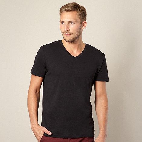 Red Herring - Black plain V neck t-shirt