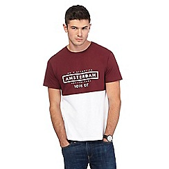 Red Herring - Big and tall dark red and white 'amsterdam' print t-shirt