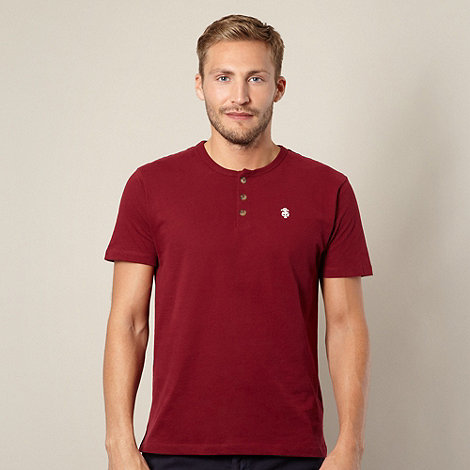 St George by Duffer - Big and tall dark red button t-shirt