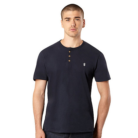 St George by Duffer - Big and tall navy button neck jersey t-shirt