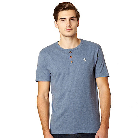 St George by Duffer - Big and tall light blue button neck t-shirt