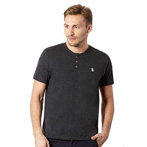 St George by Duffer - Big and tall dark grey button neck t-shirt