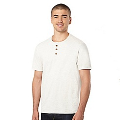 St George by Duffer - Big and tall dark cream button neck t-shirt
