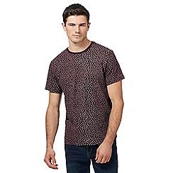 Red Herring - Big and tall dark red geometric print t-shirt