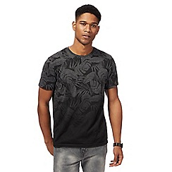 Red Herring - Black faded leaf print t-shirt