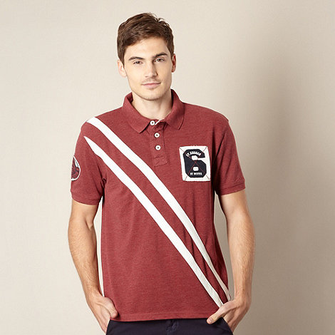 St George by Duffer - Dark red pique sash striped polo shirt