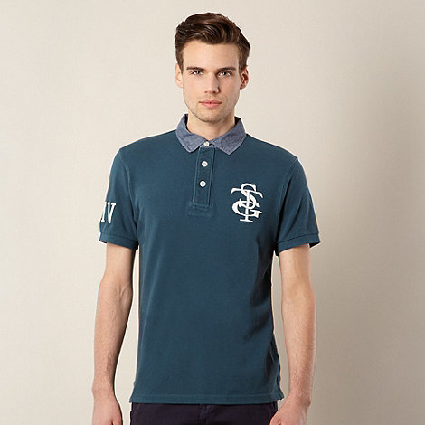 St George by Duffer - Dark green chambray collar polo shirt