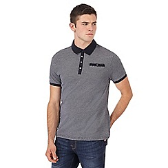 Red Herring - Big and tall navy textured slim fit polo shirt
