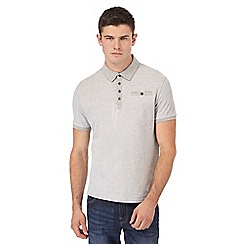Red Herring - Big and tall grey textured slim fit polo shirt