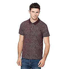 Red Herring - Big and tall dark red geometric print polo shirt