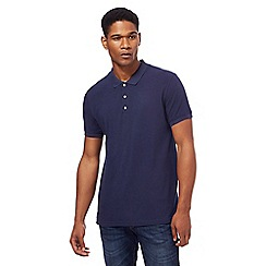 Red Herring - Big and tall navy popper neck polo shirt