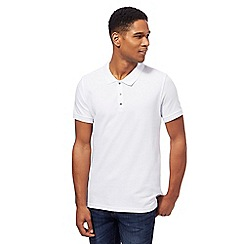 Red Herring - Big and tall white popper neck polo shirt