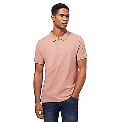 Red Herring - Big and tall dark pink popper neck polo shirt