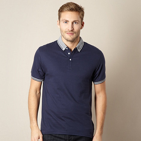 Red Herring - Navy herringbone tipped polo shirt