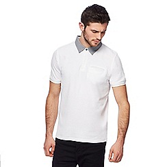 Red Herring - Big and tall white pique woven collar polo shirt