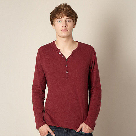 Red Herring - Maroon open button neck t-shirt