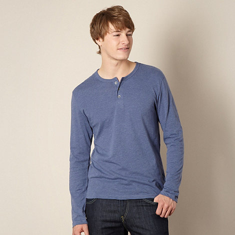 Red Herring - Mid blue button neck t-shirt