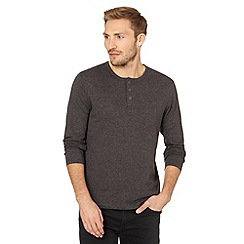 Red Herring - Grey marled button neck top