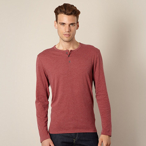 Red Herring - Maroon marled button neck top