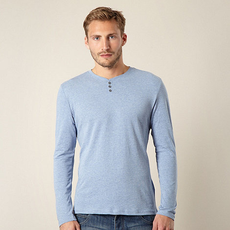 Red Herring - Light blue marled button neck top