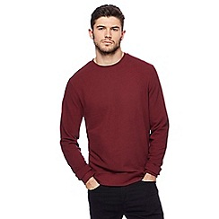 Red Herring - Dark red pique textured crew neck jumper