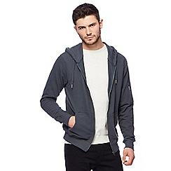 Red Herring - Big and tall dark turquoise pique zip through hoodie