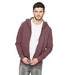 Red Herring - Big and tall dark pink pique zip through hoodie