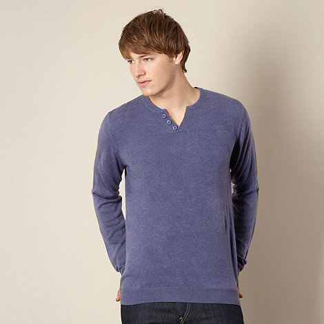 Red Herring - Blue open button neck jumper
