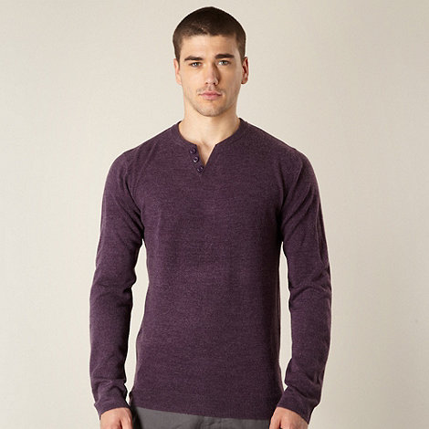 Red Herring - Purple open button neck marl jumper