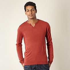 Red Herring - Red open button neck jumper