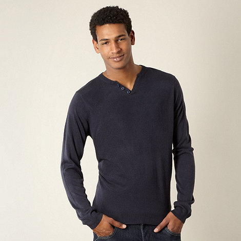 Red Herring - Navy open button neck jumper