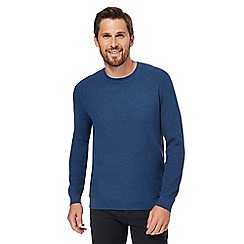 Red Herring - Big and tall blue racking stitch jumper